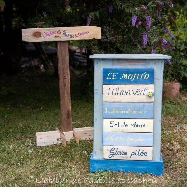 Meuble faux tiroirs peint avec la recette de mojito