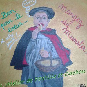 peinture acrylique homme avec un beret qui mange du munster