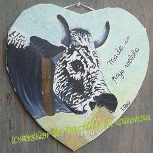 peinture à l'huile d'une vache vosgienne
