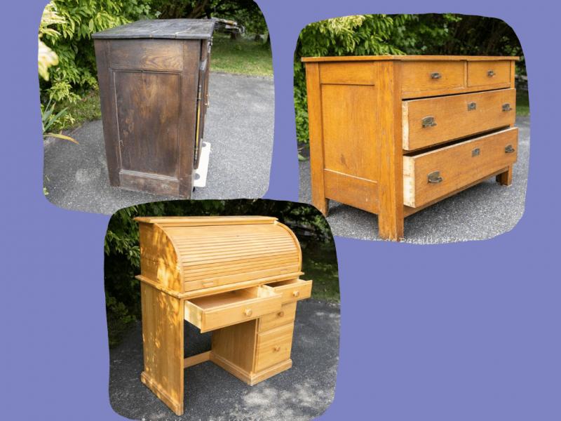 3 meubles anciens prêts à être relookés